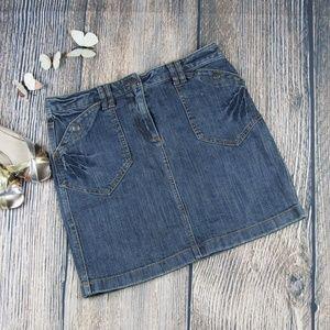 ANN TAYLOR LOFT blue denim mini skirt